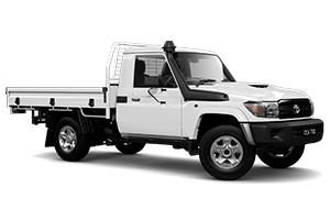 Brand New 2018 Toyota LandCruiser 70 GX Single-Cab Cab-Chassis w/ GPS painted tray with under body tyre hanger (French Vanilla)