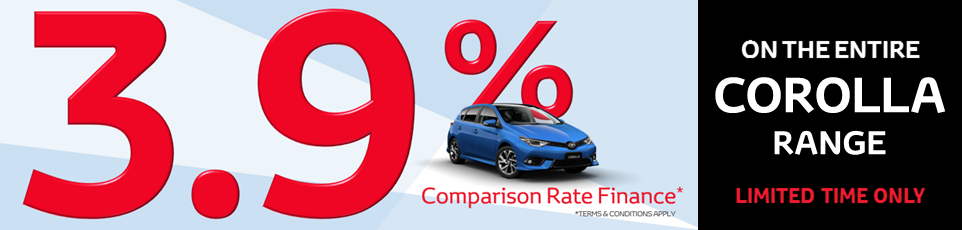 3.9% finance on the entire Corolla range