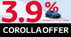 3.9% finance on the entire Corolla range