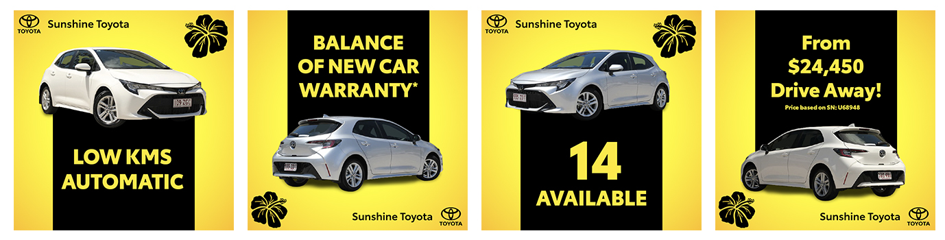 Pre-Owned Corolla Clearance on now at Sunshine Toyota on the Sunshine Coast!