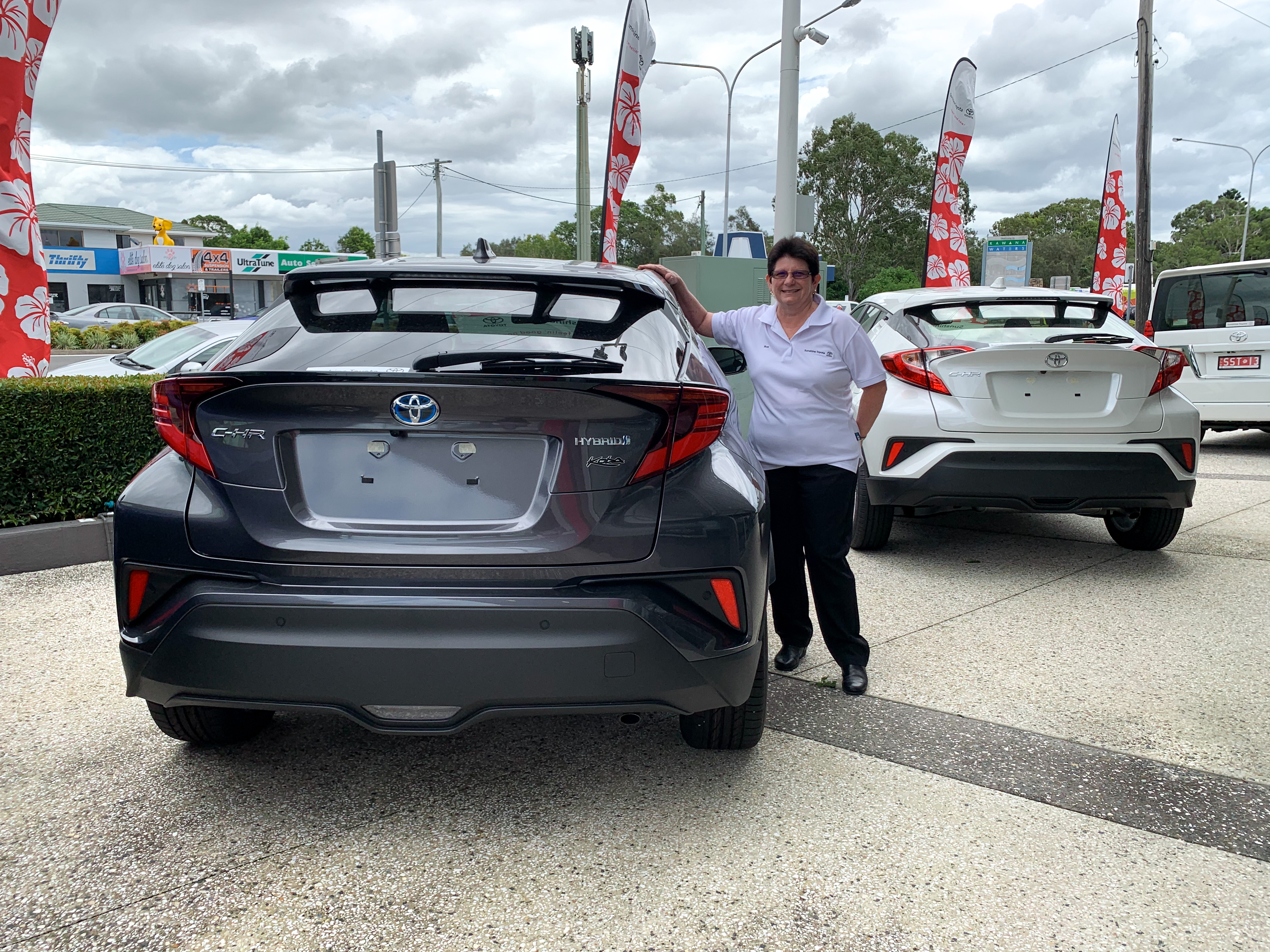 Ros with graphite Koba C-HR - ask us today at Sunshine Toyota on the Sunshine Coast