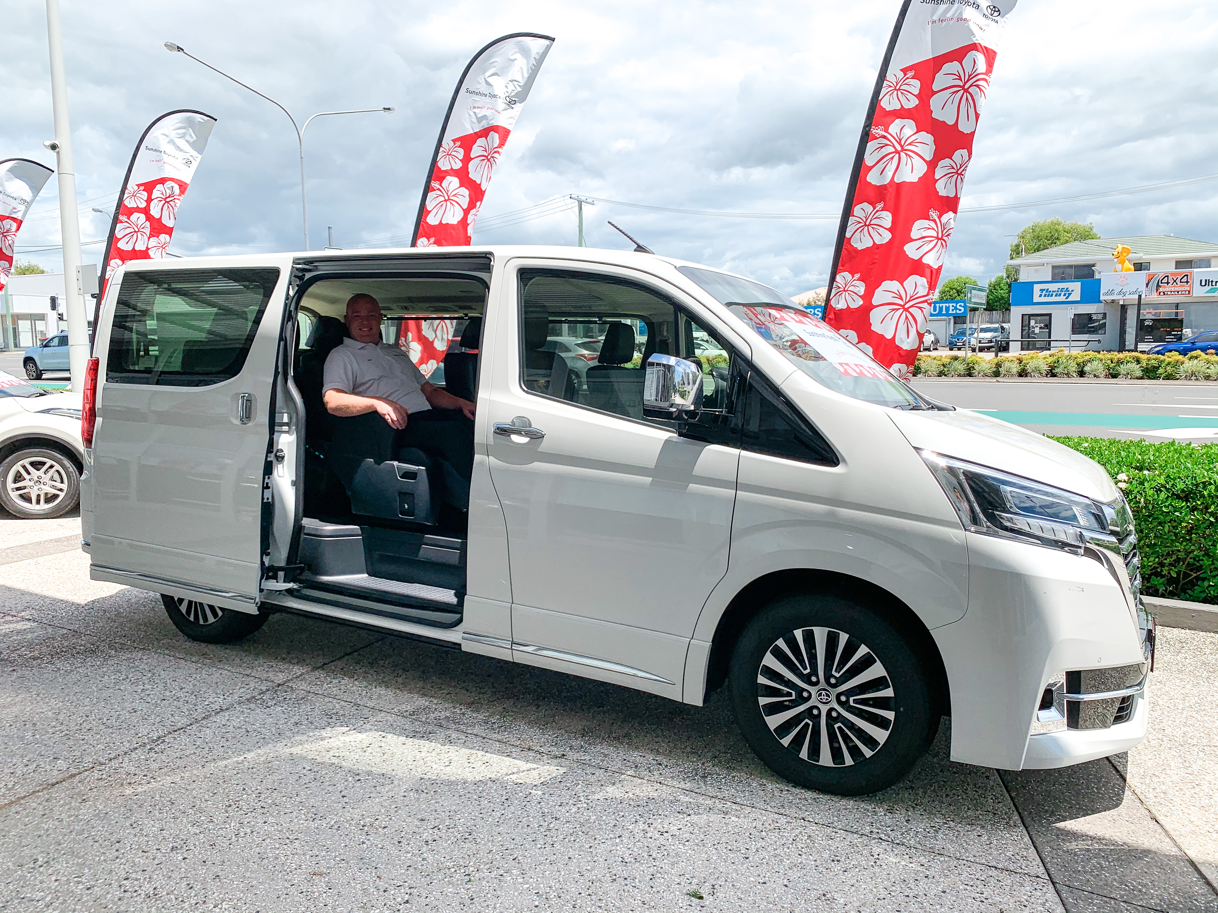 Ryan in a white Granvia - ask us today at Sunshine Toyota on the Sunshine Coast